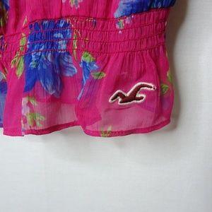 Hollister Tops - Hollister Pink & Blue Floral Sheer Cap Sleeve Top